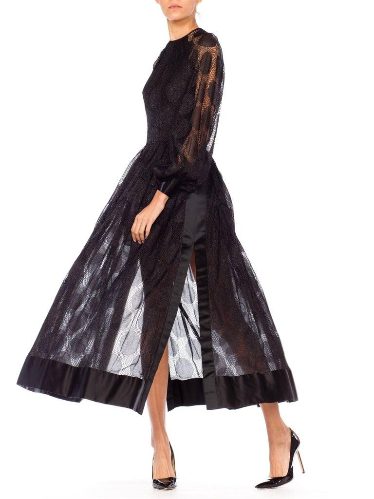 James Galanos Sheer Metallic Mod Lace Dress, 1960s  For Sale 1