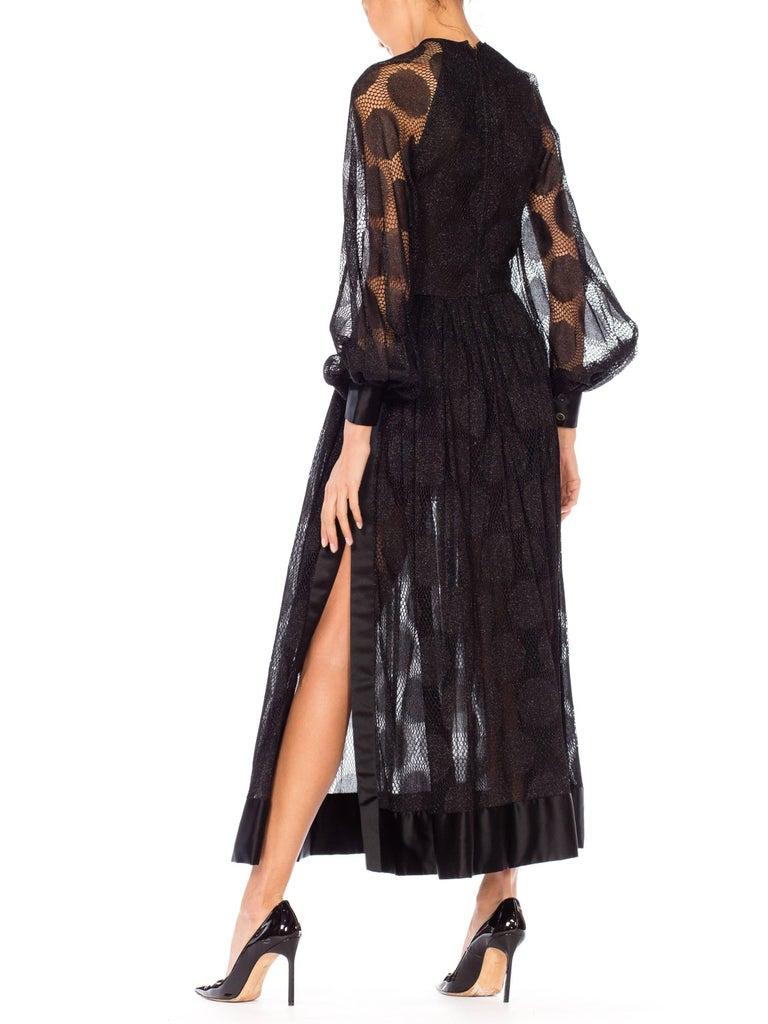 Women's James Galanos Sheer Metallic Mod Lace Dress, 1960s  For Sale