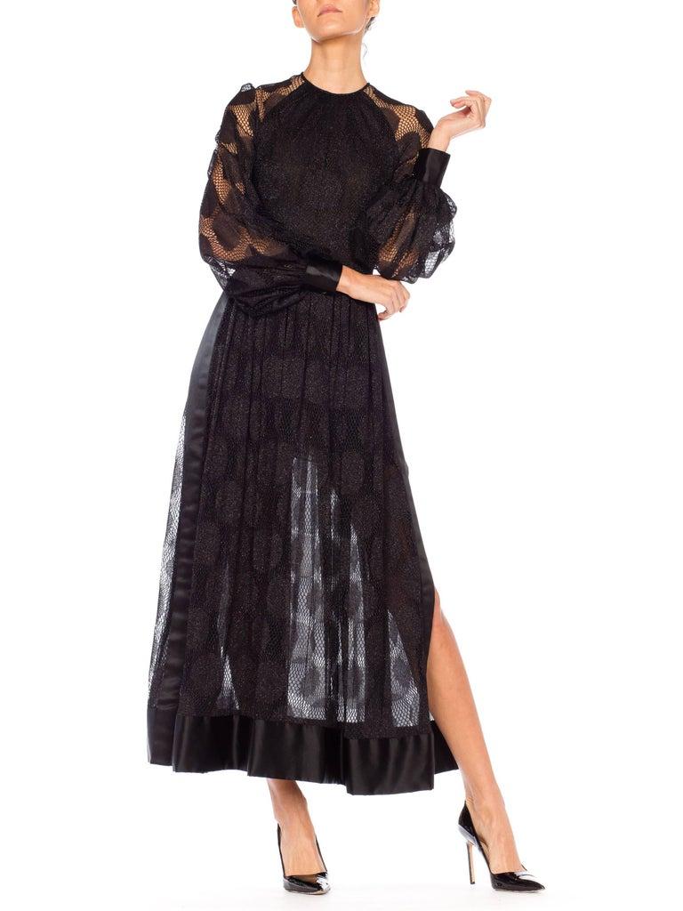 James Galanos Sheer Metallic Mod Lace Dress, 1960s  For Sale 2