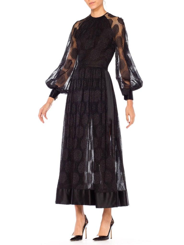 Black James Galanos Sheer Metallic Mod Lace Dress, 1960s  For Sale
