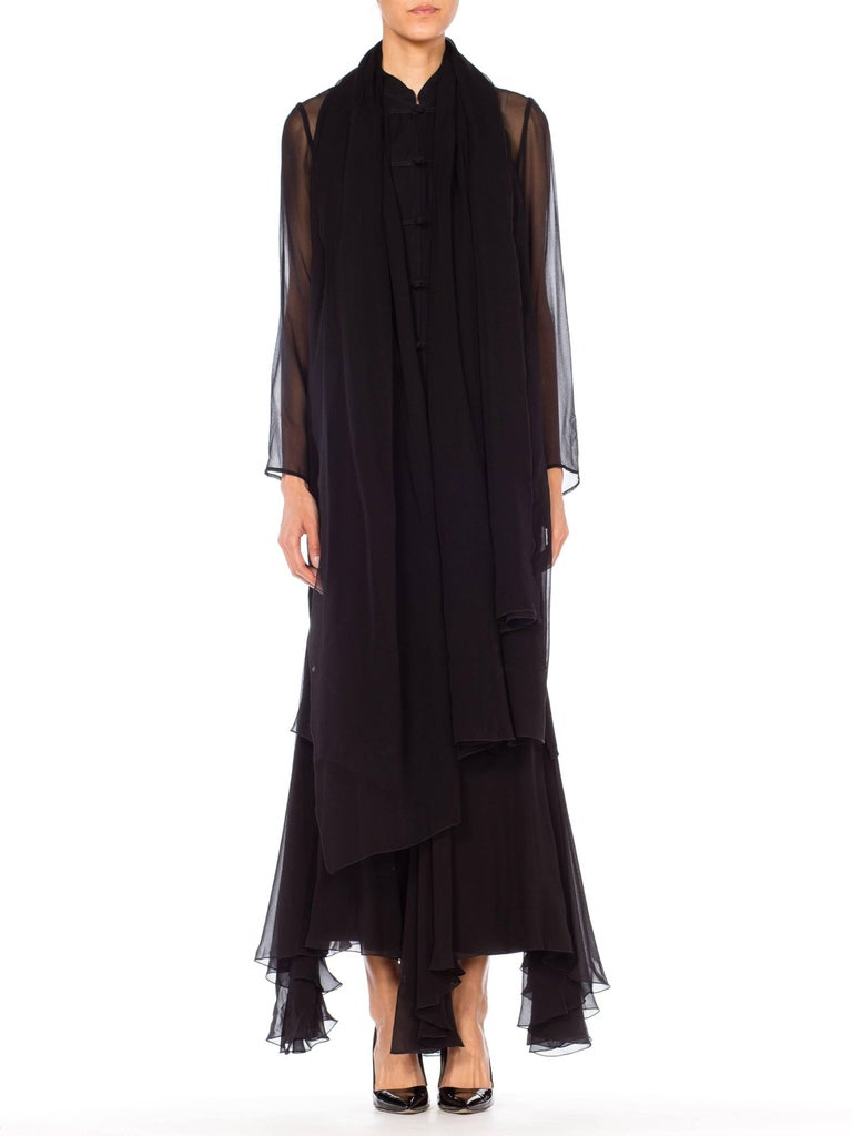 5ddfe894c10 Giorgio Armani Silk Chiffon Sheer Black Mandarin Tunic and Skirt Ensemble  For Sale 4