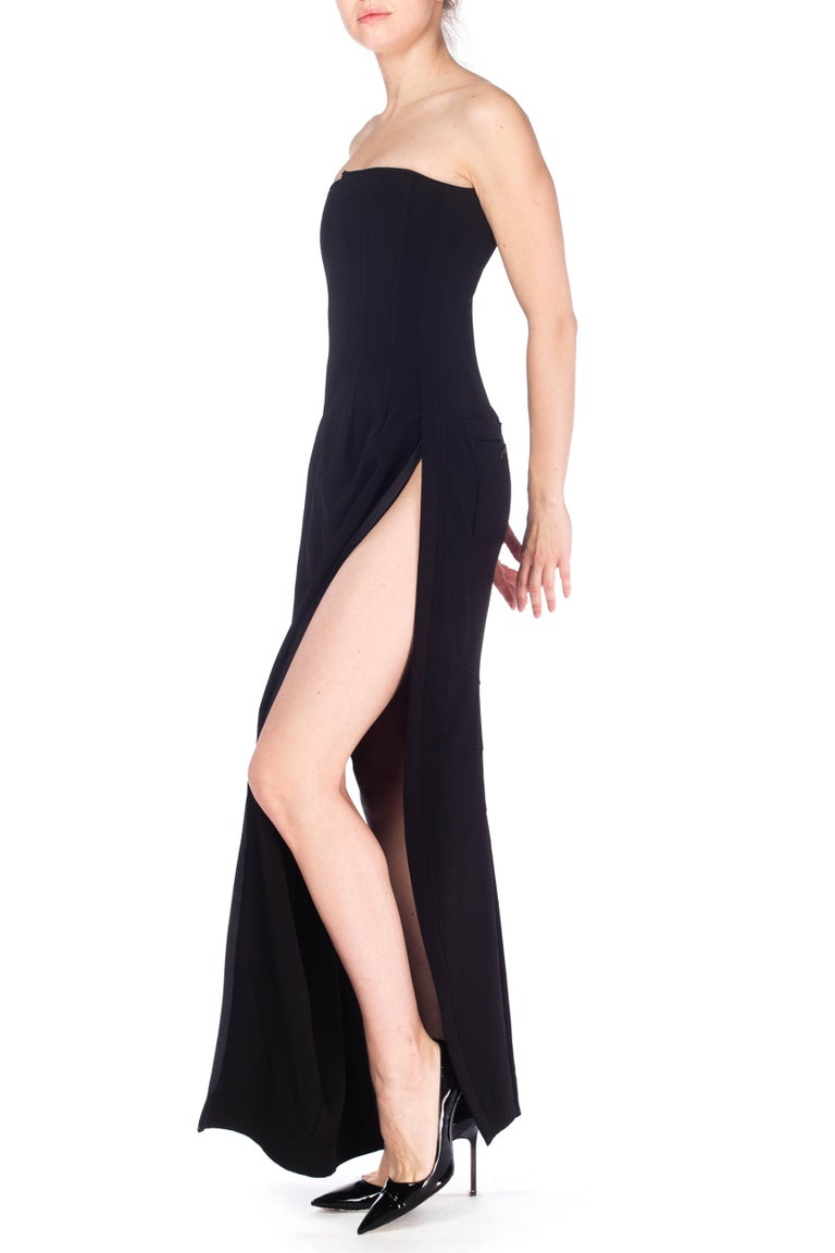 1990S DOLCE & GABBANA Black Poly Blend Stretch  Strapless Boned Corset Gown Wit For Sale 4