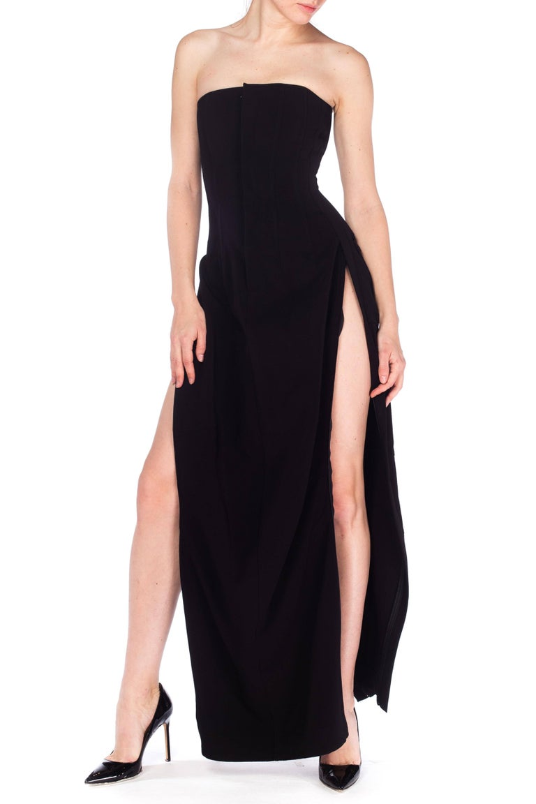 1990S DOLCE & GABBANA Black Poly Blend Stretch  Strapless Boned Corset Gown Wit For Sale 6