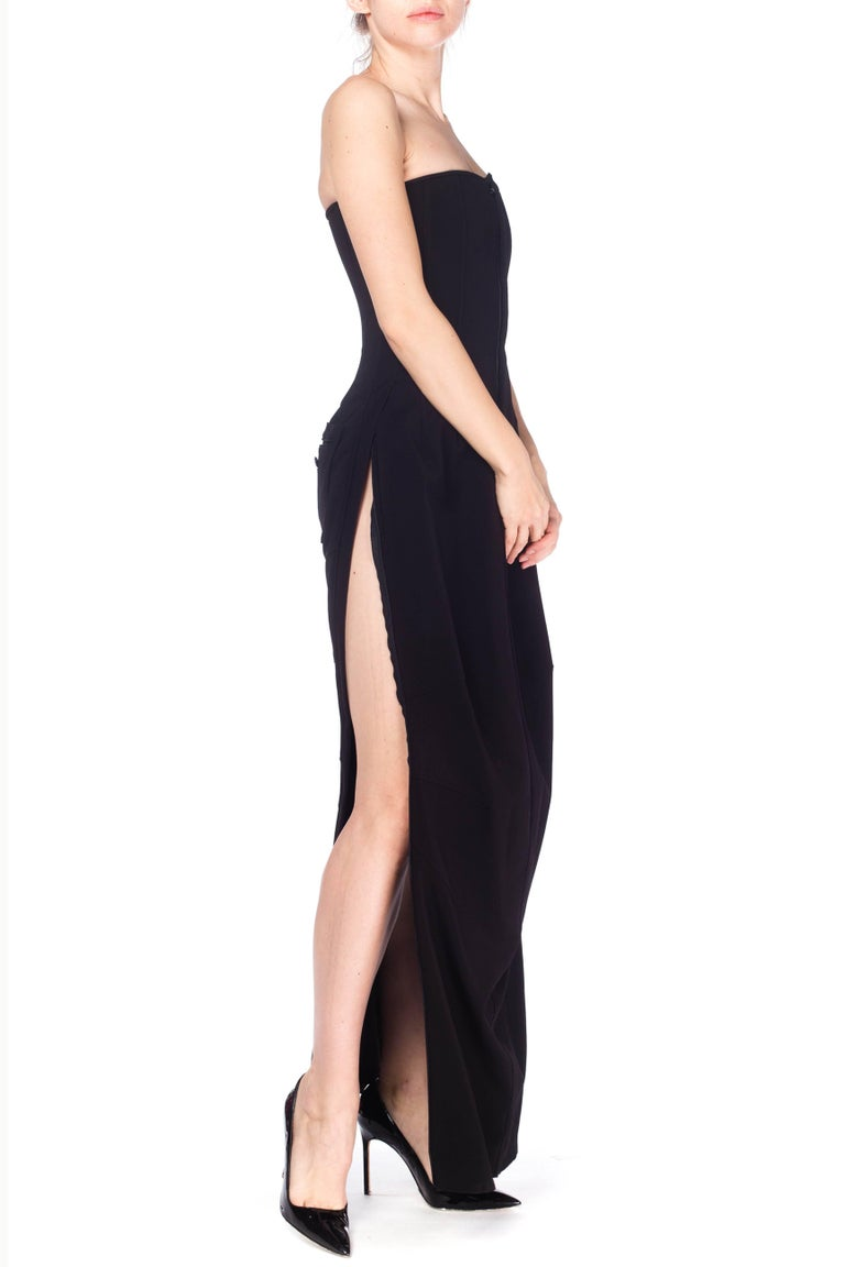 1990S DOLCE & GABBANA Black Poly Blend Stretch  Strapless Boned Corset Gown Wit In Excellent Condition For Sale In New York, NY