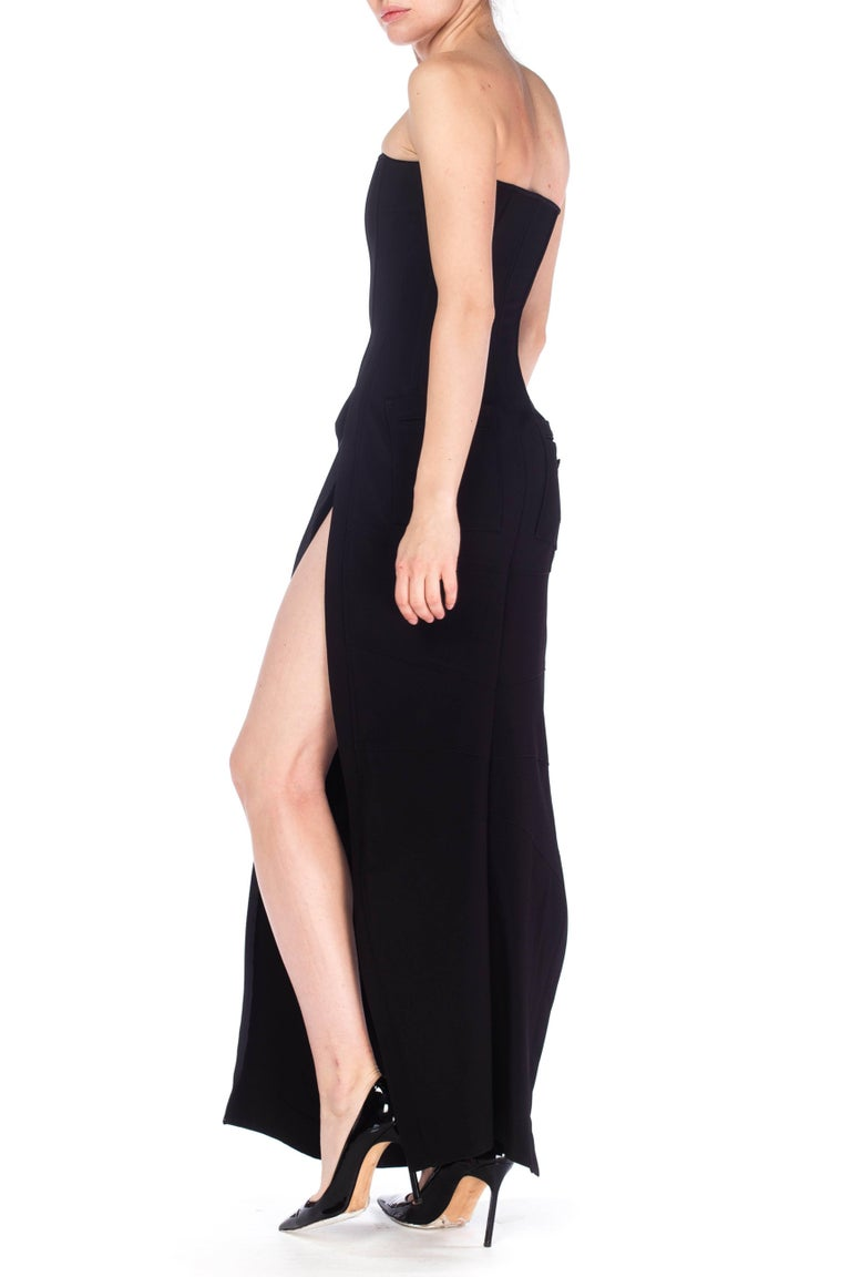 1990S DOLCE & GABBANA Black Poly Blend Stretch  Strapless Boned Corset Gown Wit For Sale 2