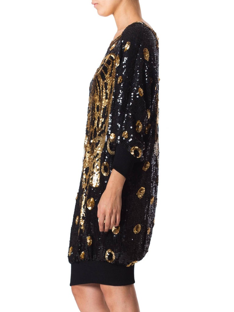 Black 1980s Gucci Style Sequined Tiger Leopard Oversized Pullover Top Dress For Sale