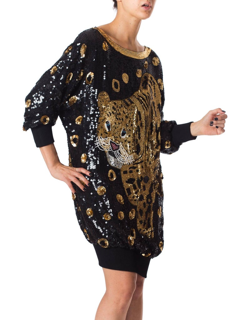 Women's 1980s Gucci Style Sequined Tiger Leopard Oversized Pullover Top Dress For Sale