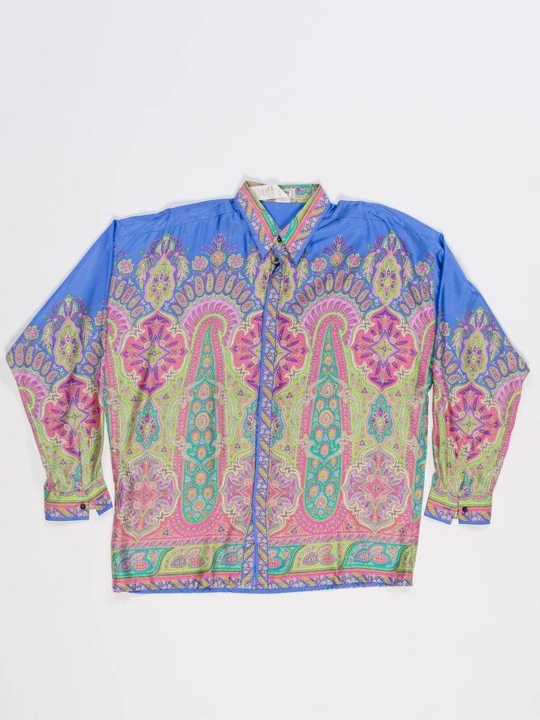 Gray 1990s Gianni Versace Men's paisley Printed Shirt For Sale