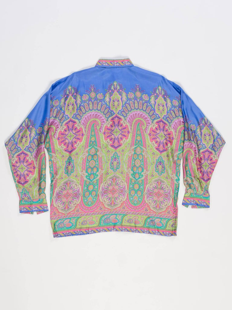 1990s Gianni Versace Men's paisley Printed Shirt For Sale 1