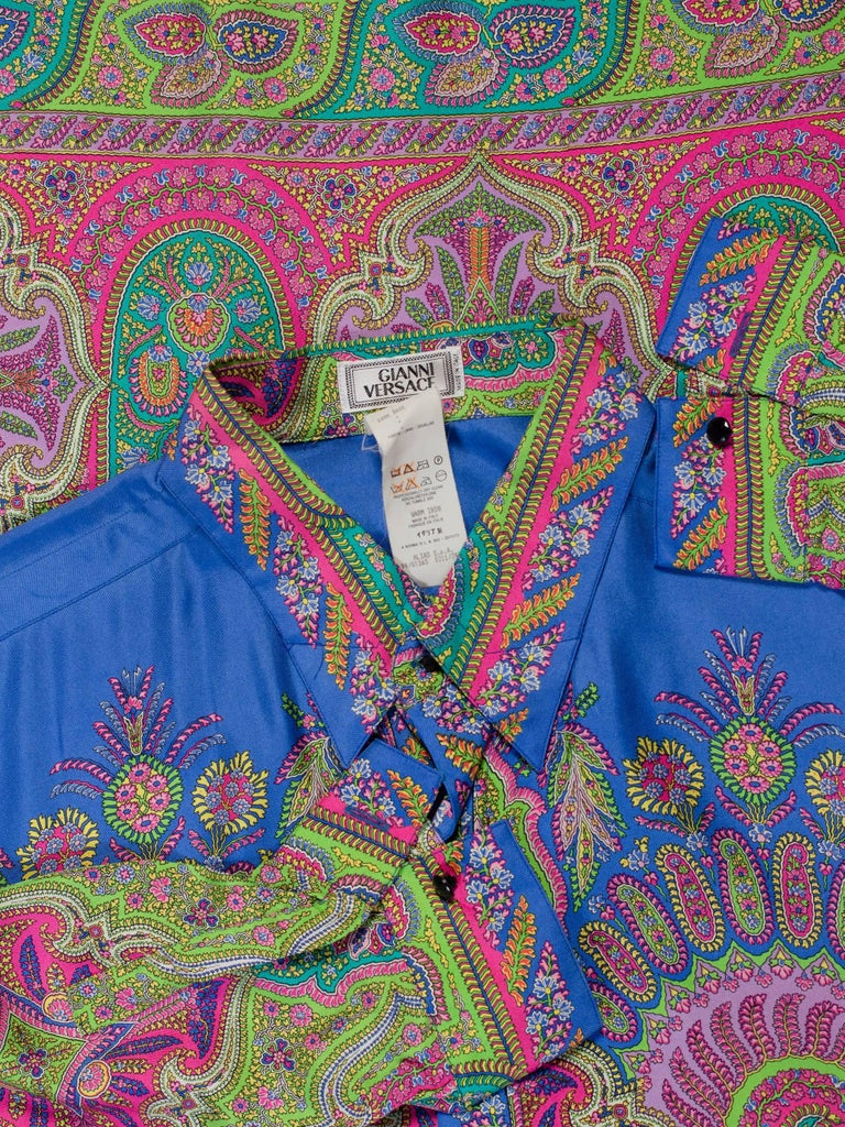 1990s Gianni Versace Men's paisley Printed Shirt For Sale 2