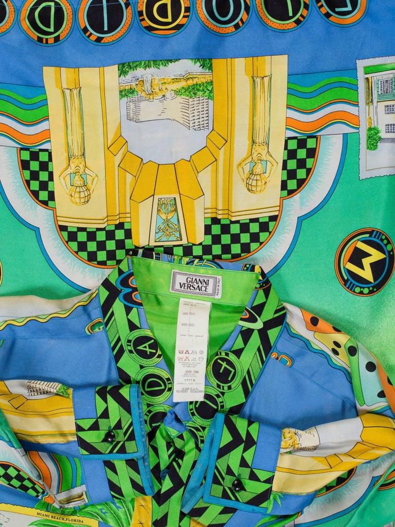 Men's 1990s Gianni Versace Miami South Beach Collection Postcard Print Silk Shirt For Sale