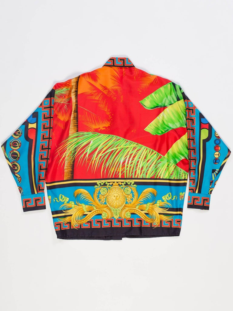 Gianni Versace Istante Miami South Beach Collection Palm Print Silk Shirt In Excellent Condition For Sale In New York, NY
