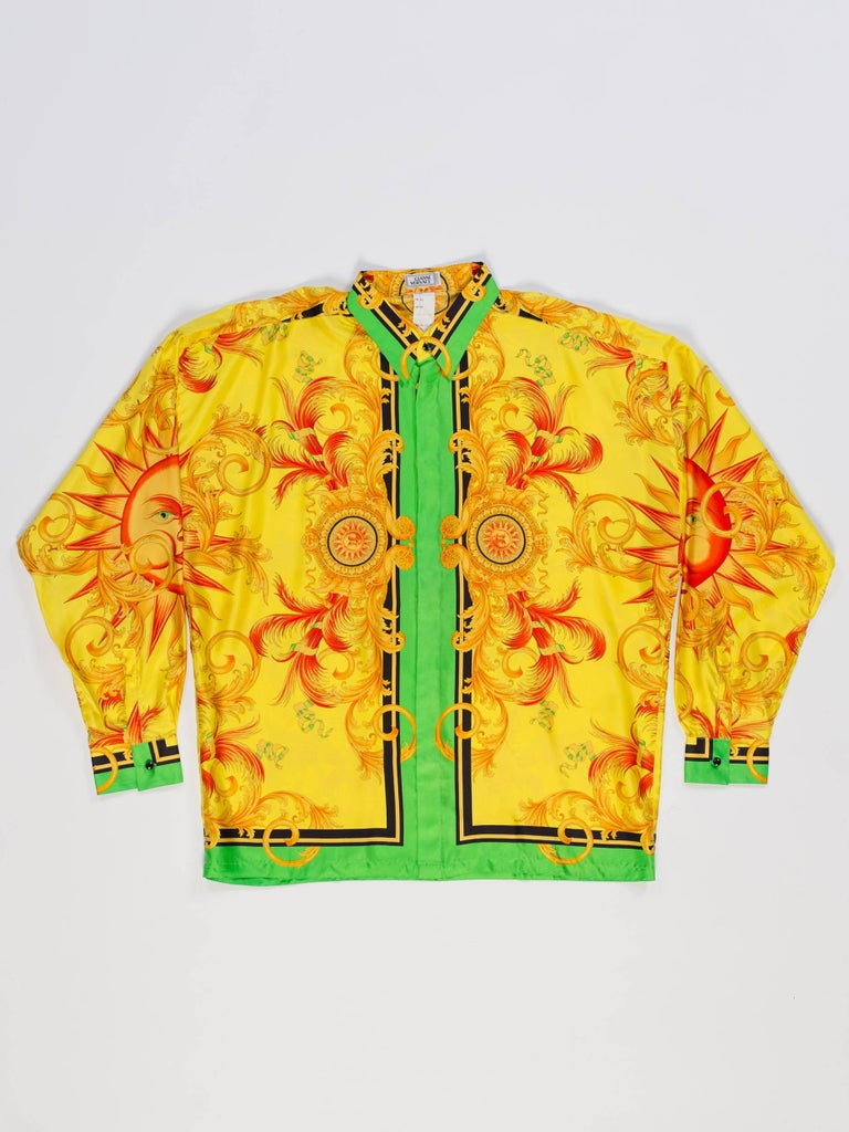 8abf86f22 Versace Yellow Baroque Sun Silk Shirt In Excellent Condition For Sale In  New York, NY