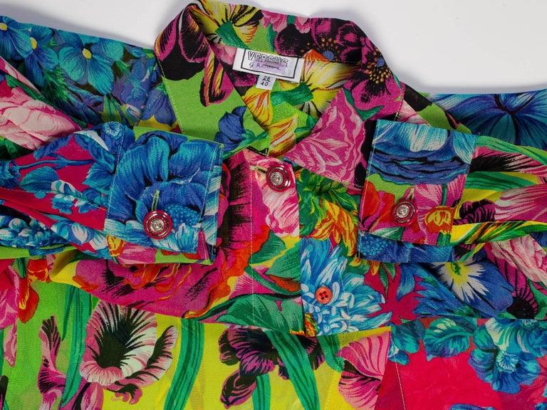 1990s Gianni Versace Versus Floral Chiffon Shirt
