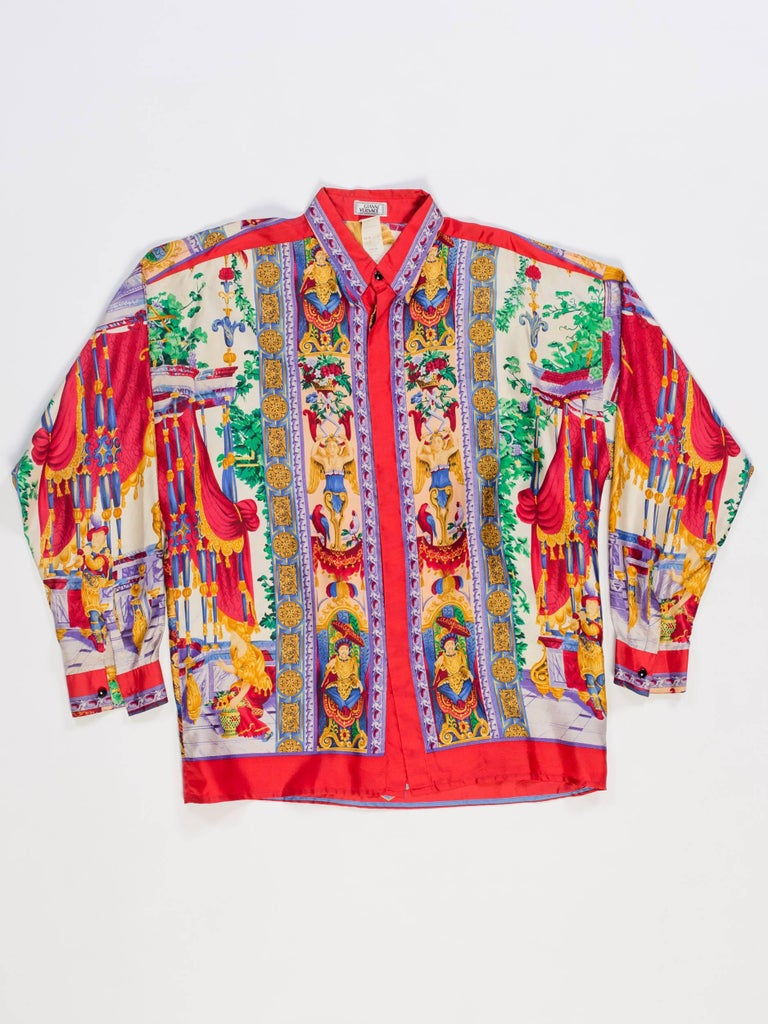 Brown 1990s Gianni Versace Men's Silk Chinese Royalty Garden Shirt For Sale