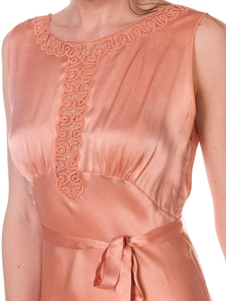 Bias Cut Silk Blush Peach Pink Negligee Night Gown, 1930s  For Sale 3