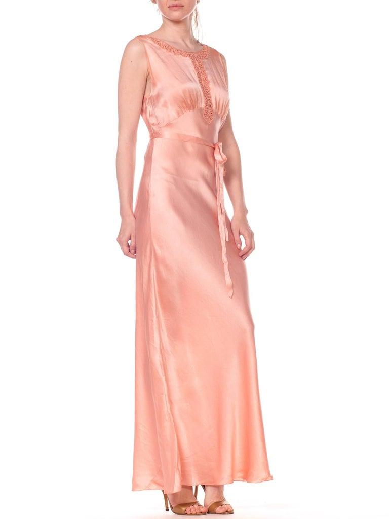 1930s Bias Cut Silk Blush Peach Pink Negligee Night Gown