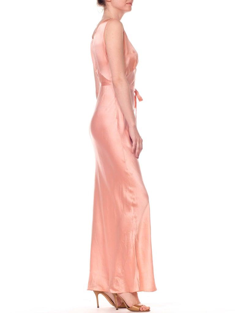 Orange Bias Cut Silk Blush Peach Pink Negligee Night Gown, 1930s  For Sale