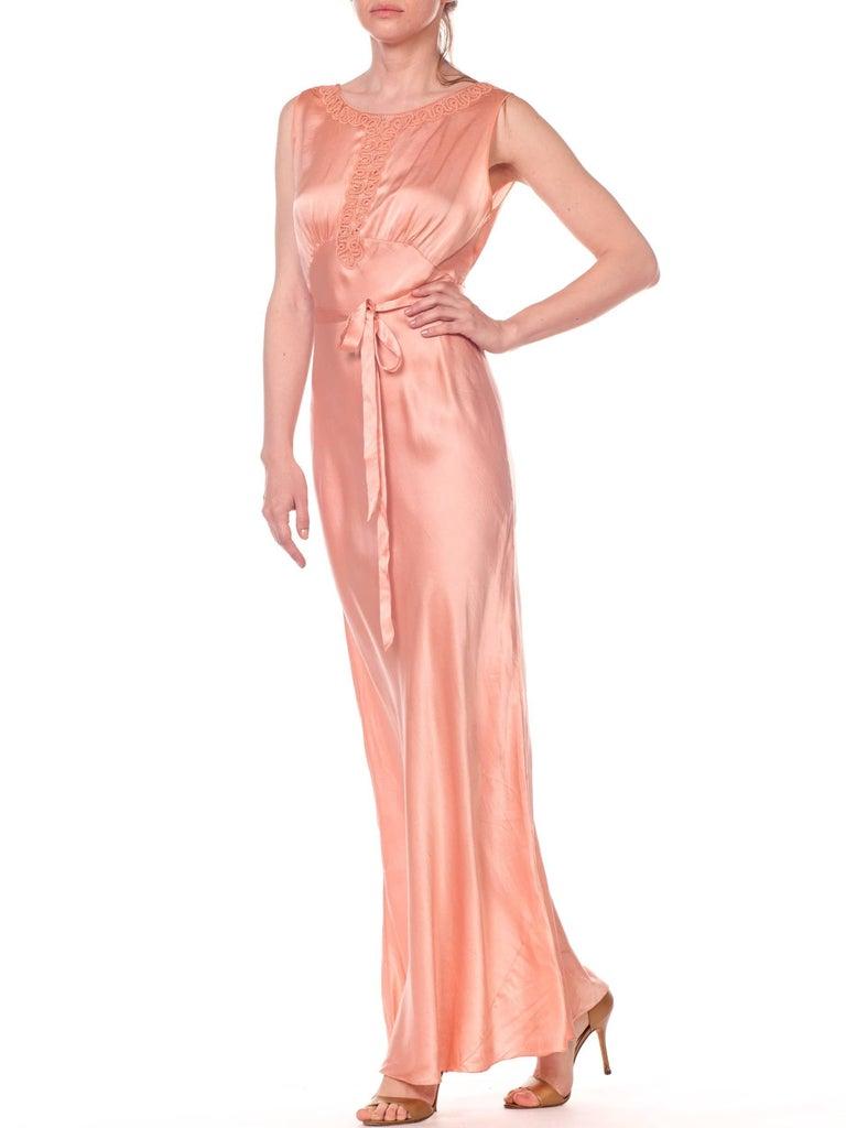 Women's Bias Cut Silk Blush Peach Pink Negligee Night Gown, 1930s  For Sale