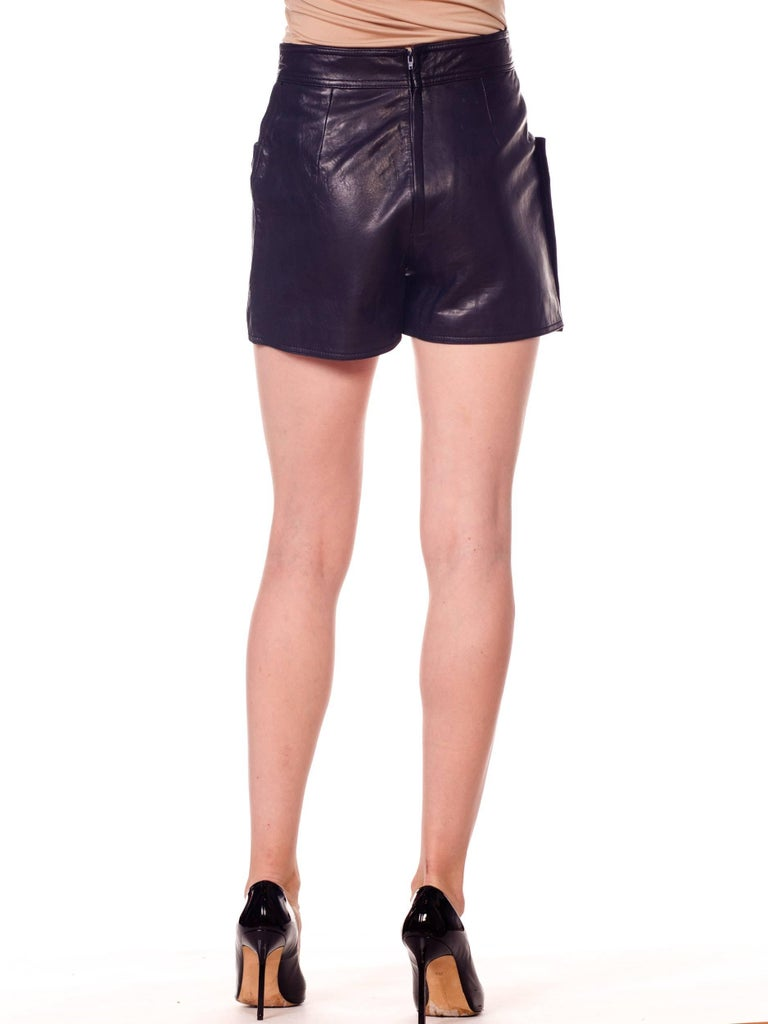 Women's Gianni Versace 1990s Bondage Collection Leather Shorts with Medusa Buttons For Sale