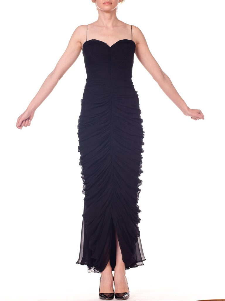 1950s Black Chiffon Demi-Couture Bombshell Evening Gown For Sale 5
