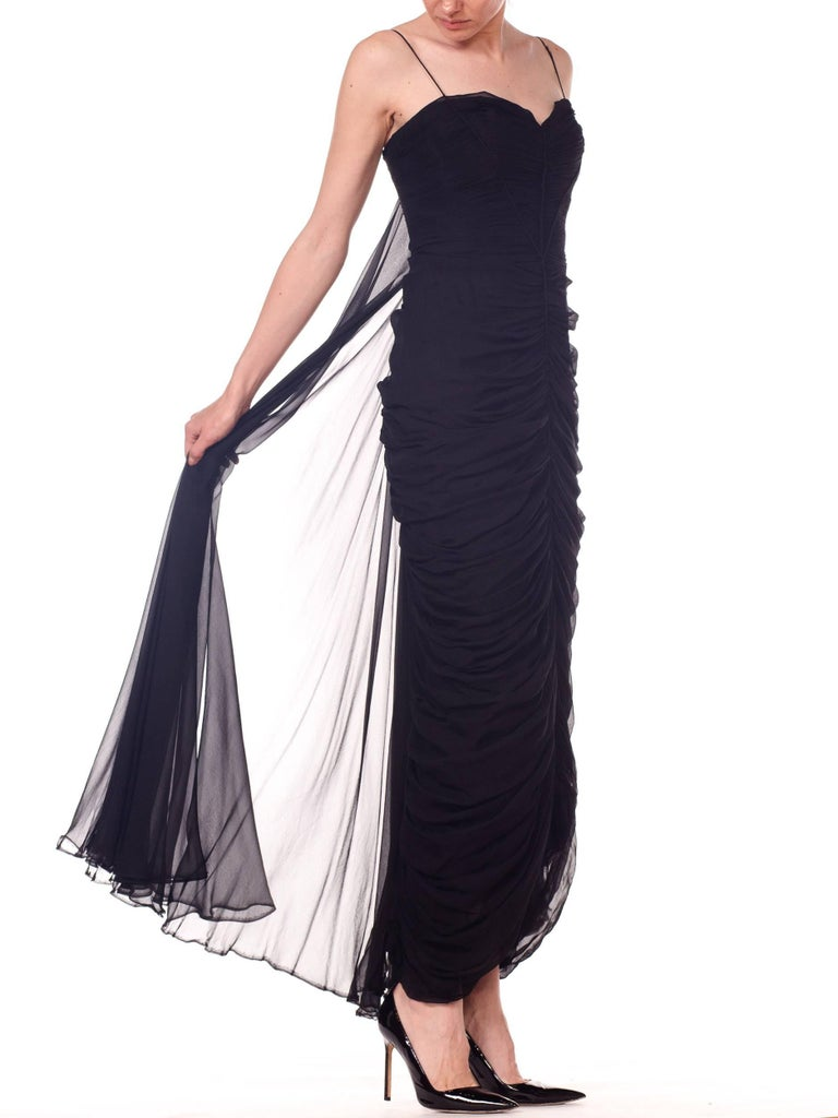 1950s Black Chiffon Demi-Couture Bombshell Evening Gown For Sale 3