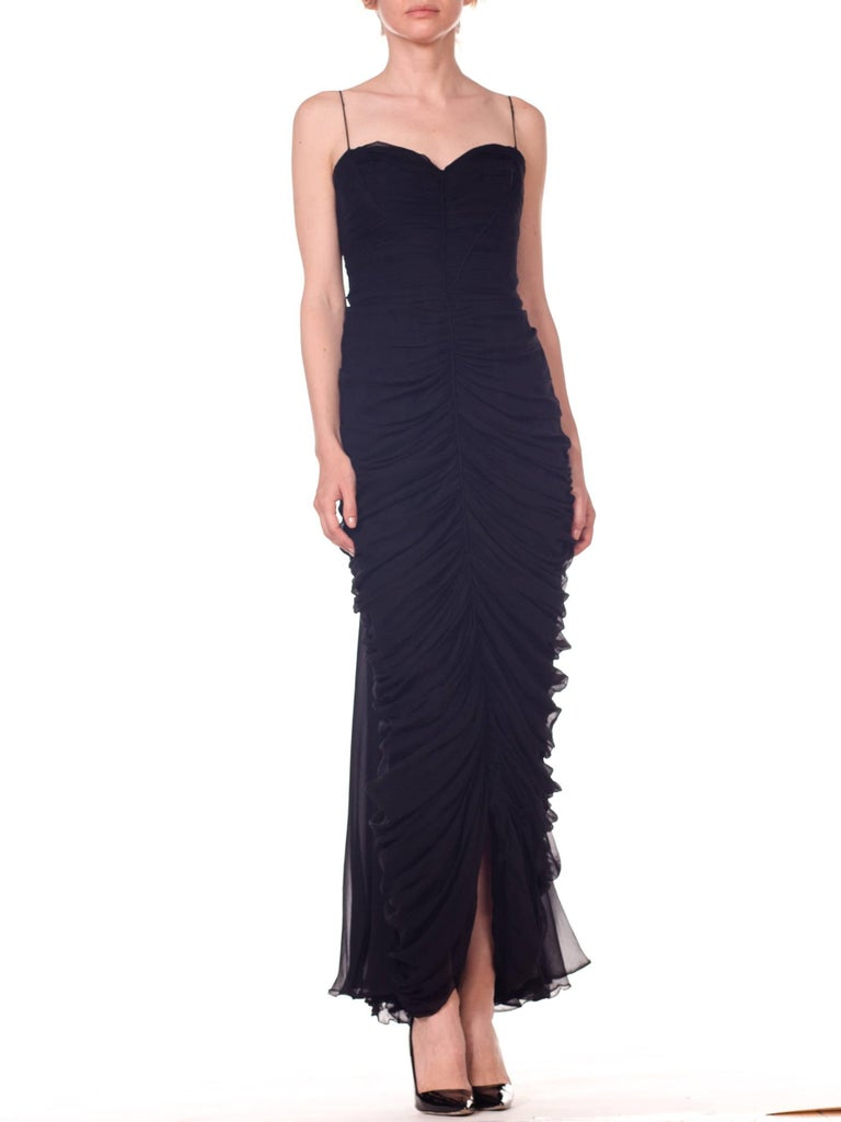 1950s Black Chiffon Demi-Couture Bombshell Evening Gown For Sale 10