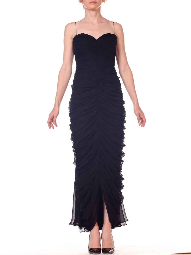 1950s Black Chiffon Demi-Couture Bombshell Evening Gown For Sale 1