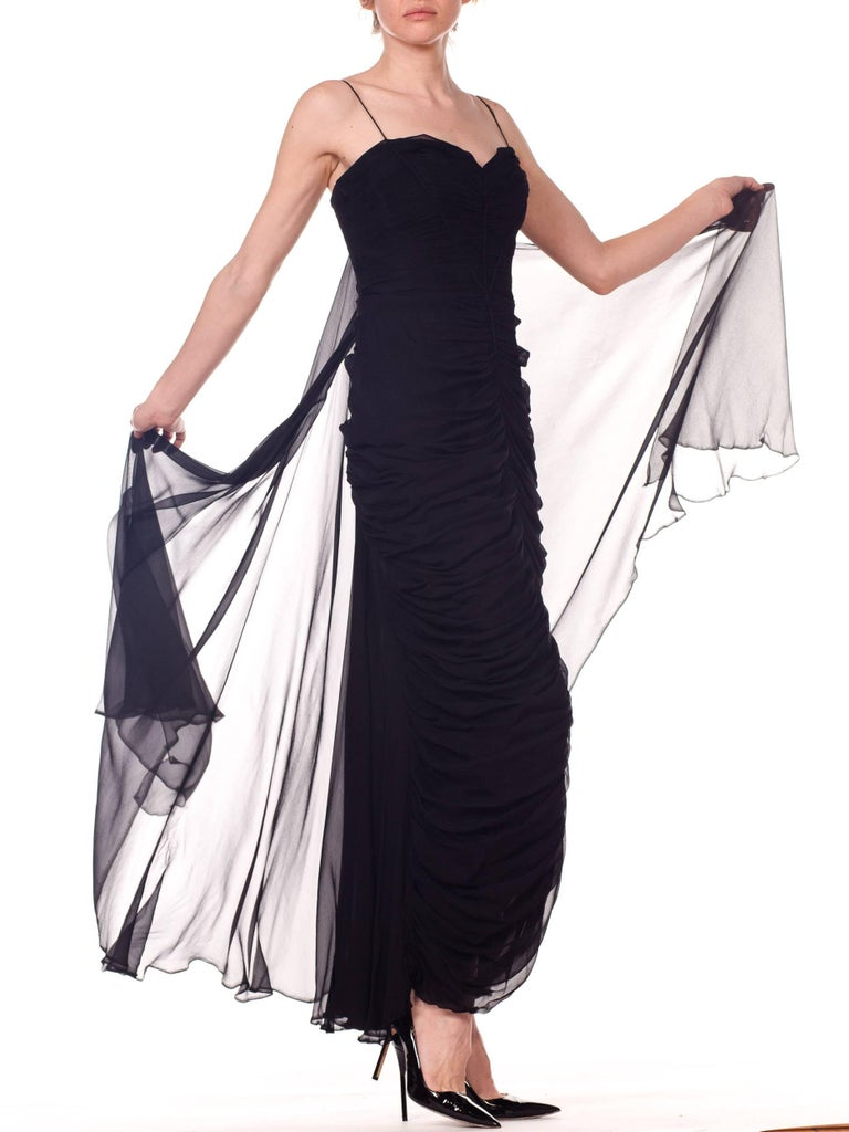 Women's 1950s Black Chiffon Demi-Couture Bombshell Evening Gown For Sale