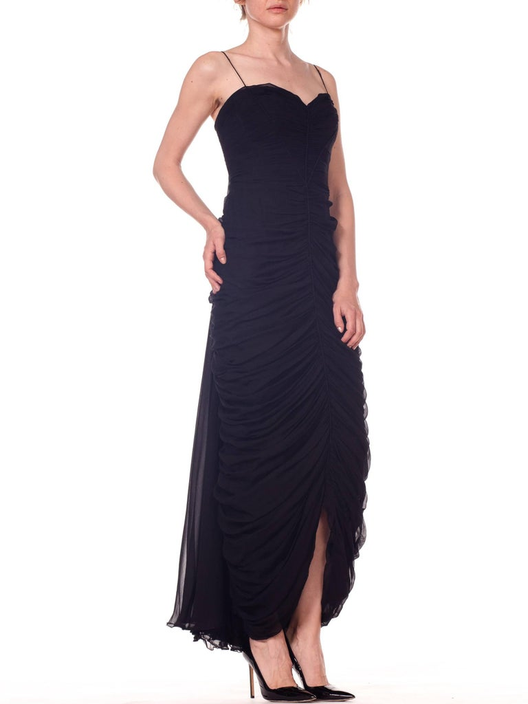 1950s Black Chiffon Demi-Couture Bombshell Evening Gown For Sale 2
