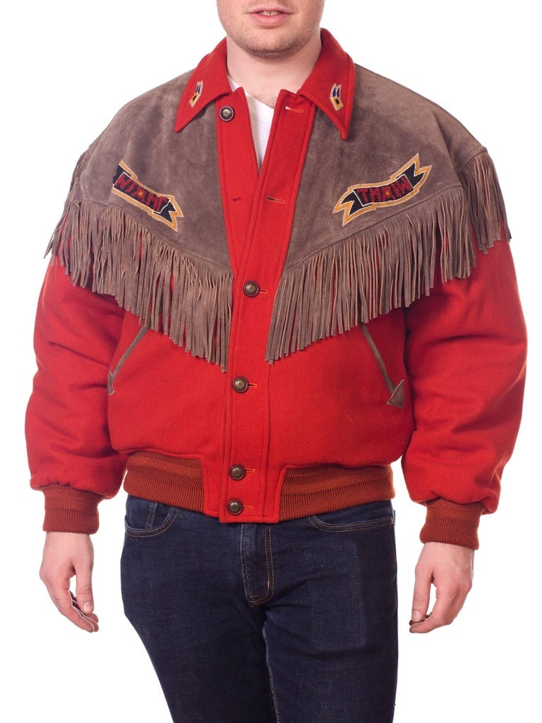 Red Kansai Yamamoto Burnt Orange Wool Jacket With Leather Fringe Details  For Sale