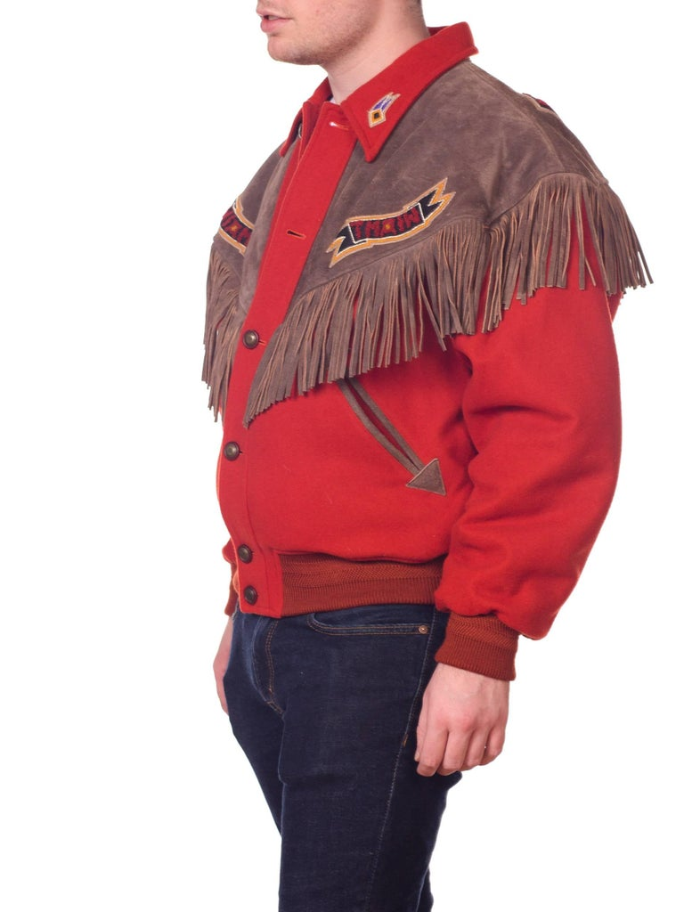 Women's or Men's Kansai Yamamoto Burnt Orange Wool Jacket With Leather Fringe Details  For Sale