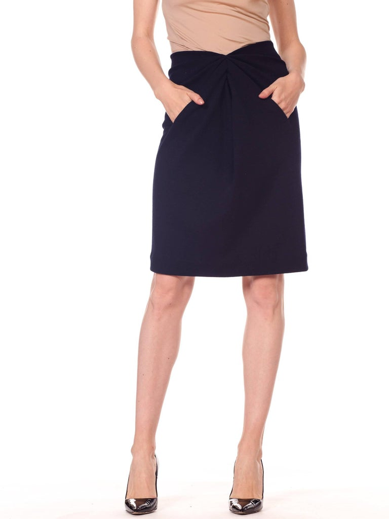 1980s 40s Style Film Noir Donna Karan Wool Jersey Gathered Pencil Skirt with pockets!