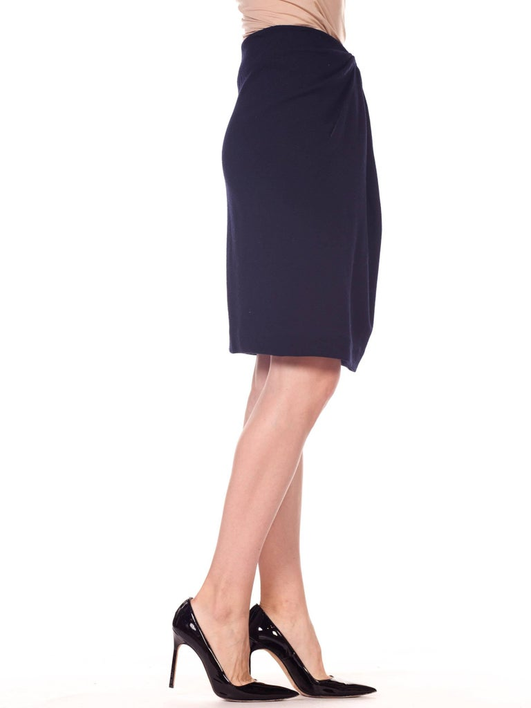 1980s 40s Style Film Noir Donna Karan Wool Jersey Gathered Pencil Skirt In Excellent Condition For Sale In New York, NY
