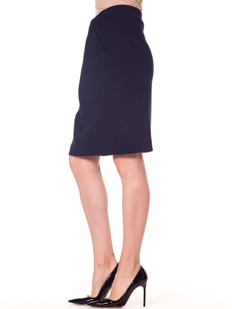 1980s 40s Style Film Noir Donna Karan Wool Jersey Gathered Pencil Skirt For Sale 2