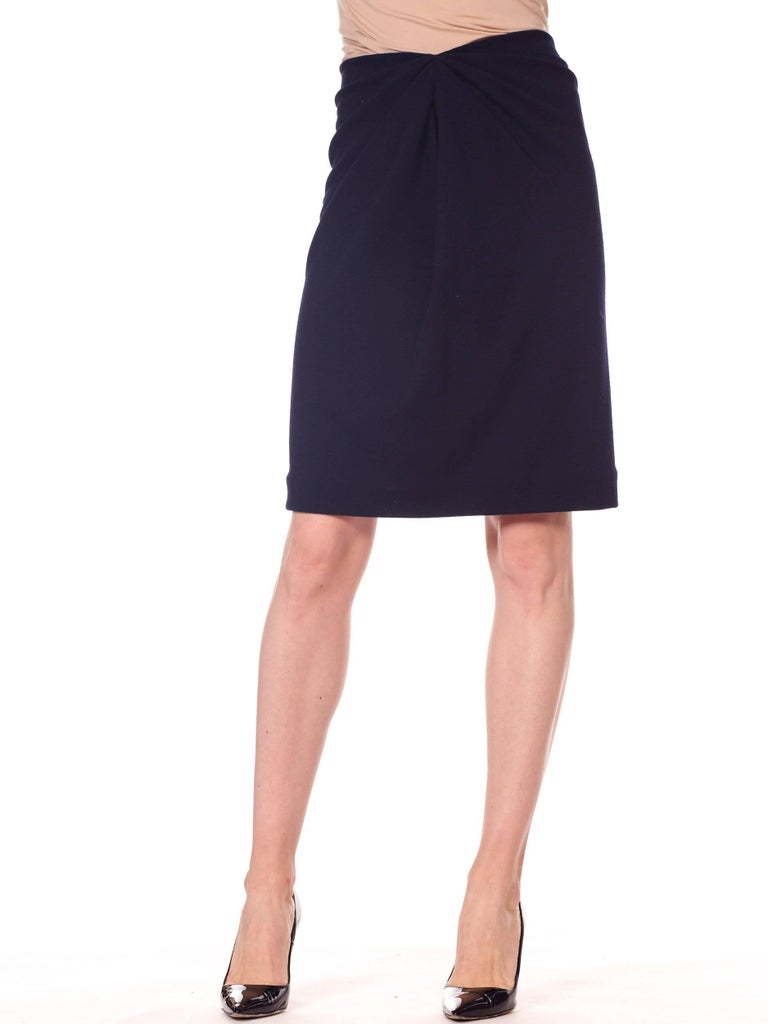 1980s 40s Style Film Noir Donna Karan Wool Jersey Gathered Pencil Skirt For Sale 3
