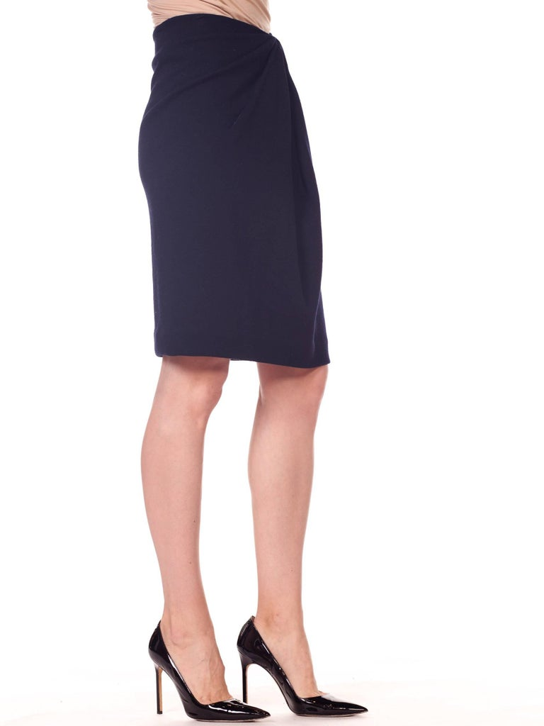 1980s 40s Style Film Noir Donna Karan Wool Jersey Gathered Pencil Skirt For Sale 4