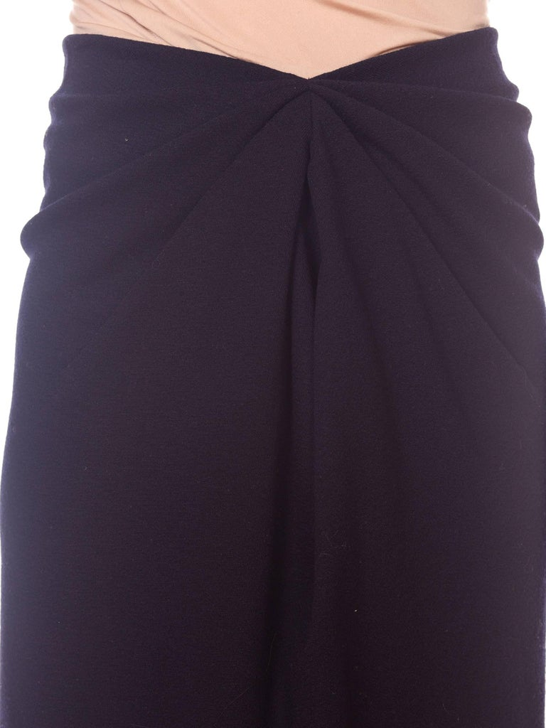 1980s 40s Style Film Noir Donna Karan Wool Jersey Gathered Pencil Skirt For Sale 5