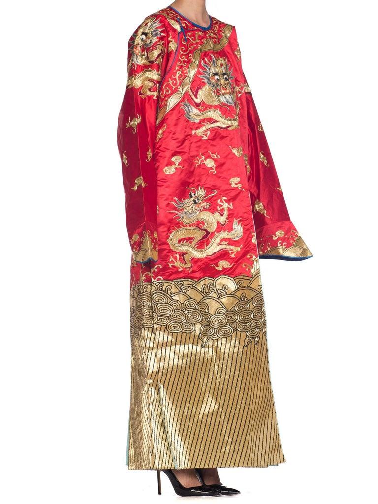 Orange Kimono Style Metallic Golden Dragon Embroidered Red Chinese Opera Robe For Sale