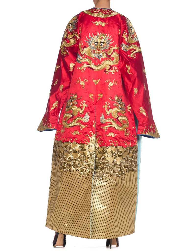 Women's or Men's Kimono Style Metallic Golden Dragon Embroidered Red Chinese Opera Robe For Sale