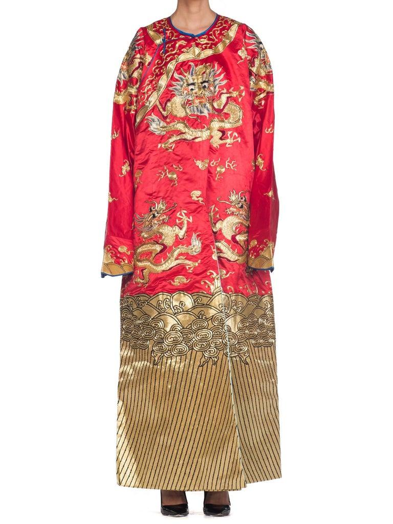 Kimono Style Metallic Golden Dragon Embroidered Red Chinese Opera Robe For Sale 1