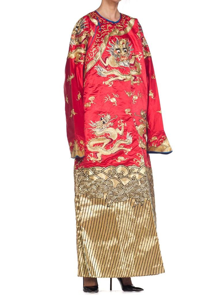 Kimono Style Metallic Golden Dragon Embroidered Red Chinese Opera Robe For Sale 2