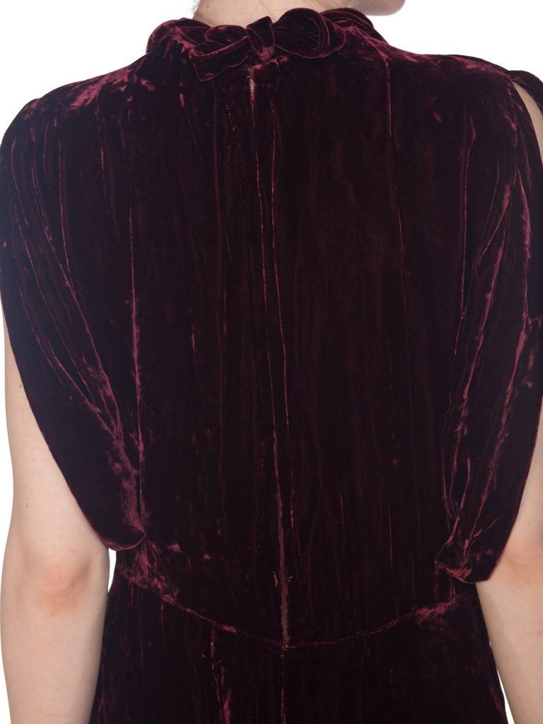 Black 1930S Burgundy Bias Cut Silk Velvet Draped Bodice & Open Sleeve Gown XL For Sale