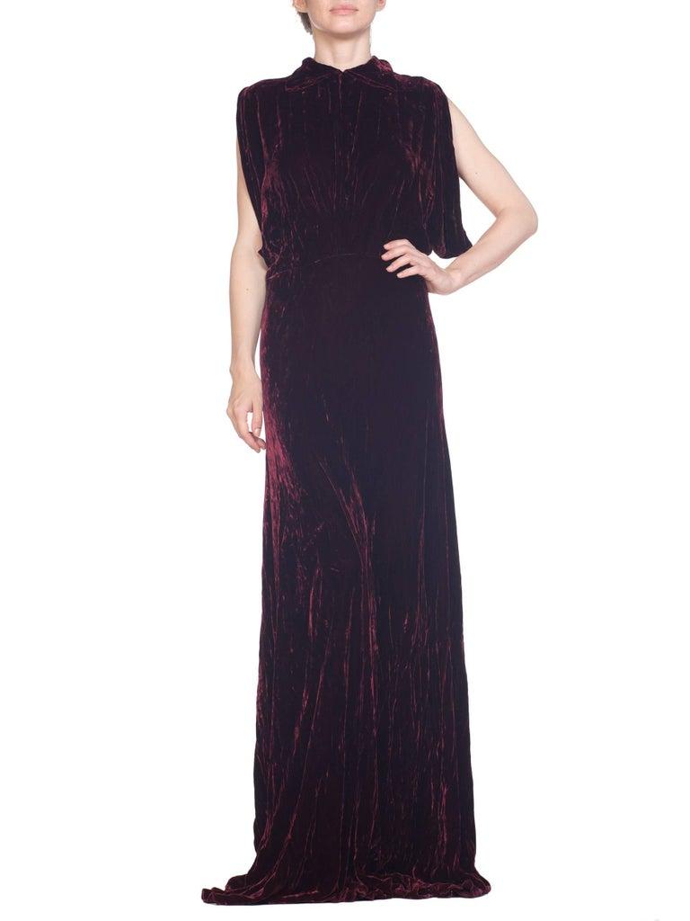 Women's 1930S Burgundy Bias Cut Silk Velvet Draped Bodice & Open Sleeve Gown XL For Sale