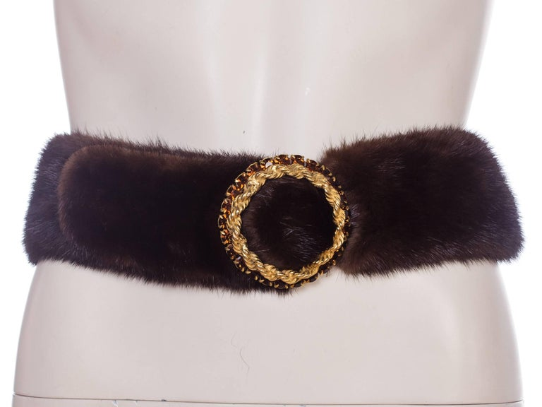 1960s Mink Belt with Gold Crystal Buckle In Excellent Condition For Sale In New York, NY