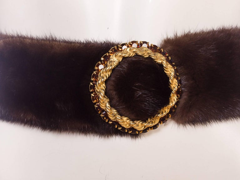 Women's 1960s Mink Belt with Gold Crystal Buckle For Sale