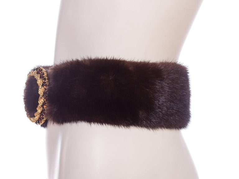 1960s Mink Belt with Gold Crystal Buckle For Sale 1