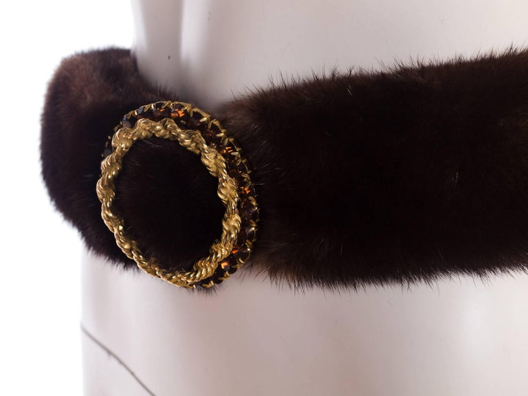 1960s Mink Belt with Gold Crystal Buckle For Sale 2