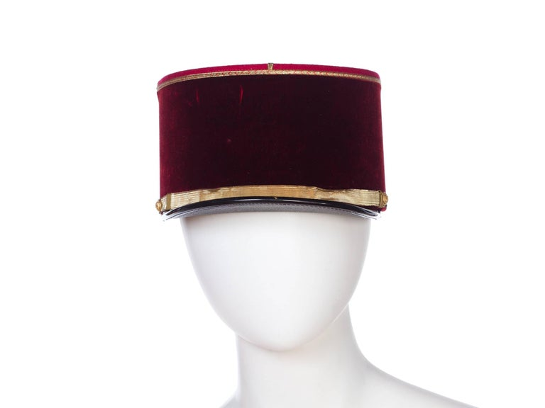 Antique Velvet French Military Hat, about a size 7 1/4