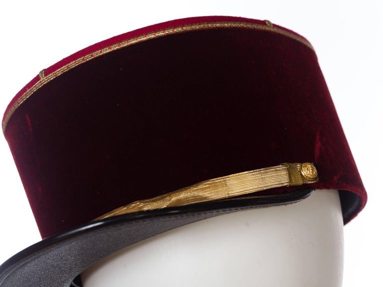 Antique Velvet French Military Hat In Excellent Condition For Sale In New York, NY